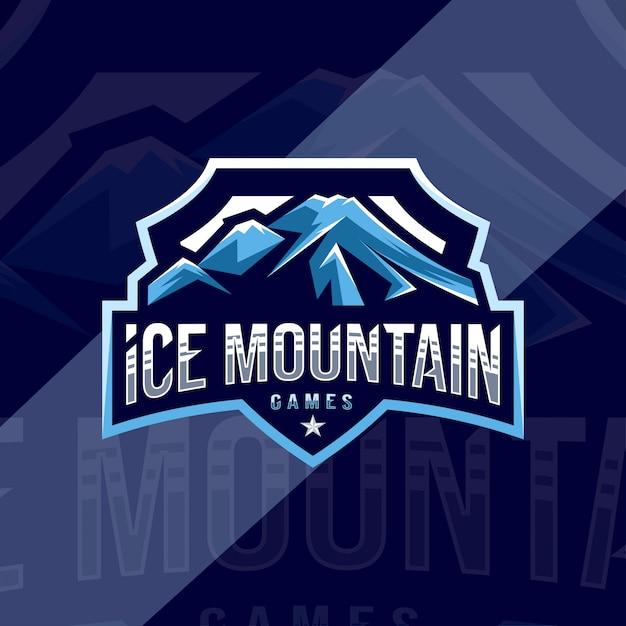 アイスマウンテンゲームマスコットロゴスポーツデザイン Premiumベクター