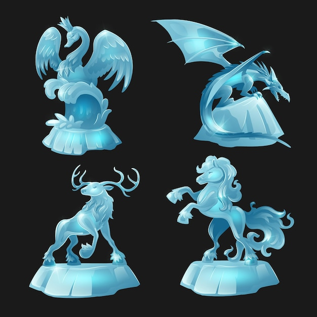 Ice sculptures of horse, dragon, swan and deer isolated on black Free Vector
