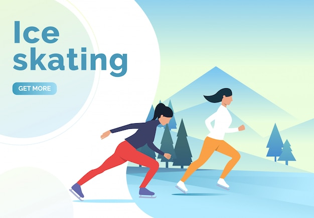 Ice skating lettering, skater women and snowy landscape Free Vector