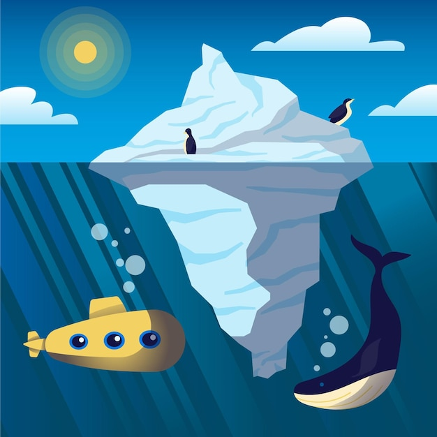 Айсберг над и под водой Бесплатные векторы