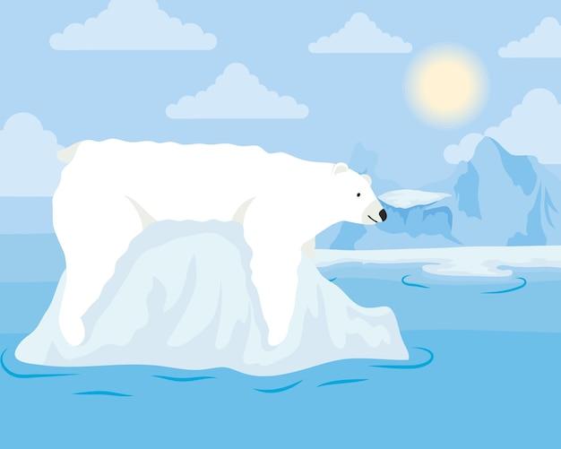 ホッキョクグマと氷山ブロック北極シーン Premiumベクター