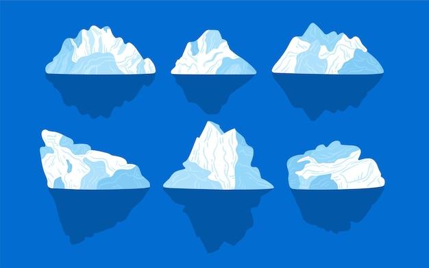 Коллекция айсберг Бесплатные векторы