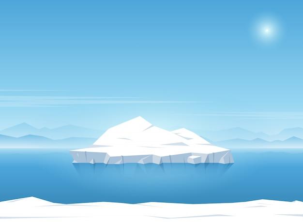 Iceberg floating in blue ocean. summer background. vector illustration. Premium Vector