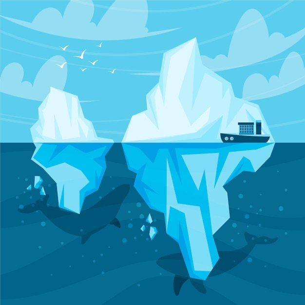 Иллюстрированная концепция айсберга Бесплатные векторы