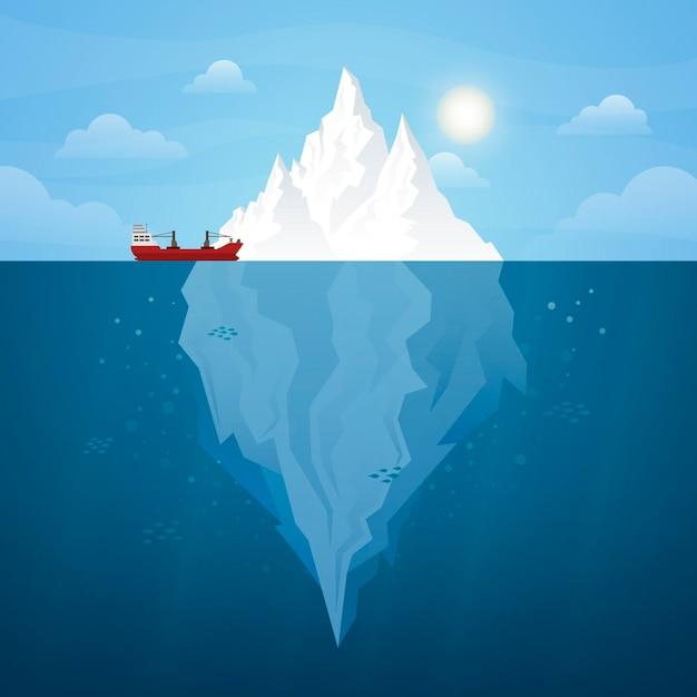 Iceberg illustrato design Vettore gratuito