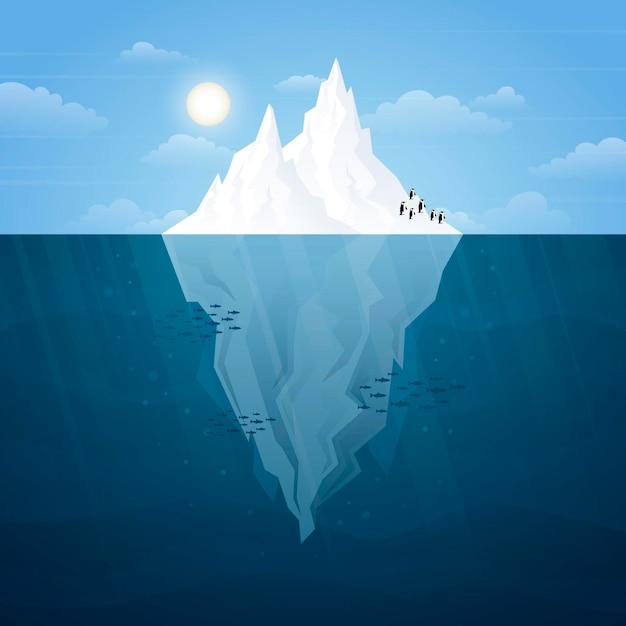 Иллюстрированная тема айсберга Бесплатные векторы