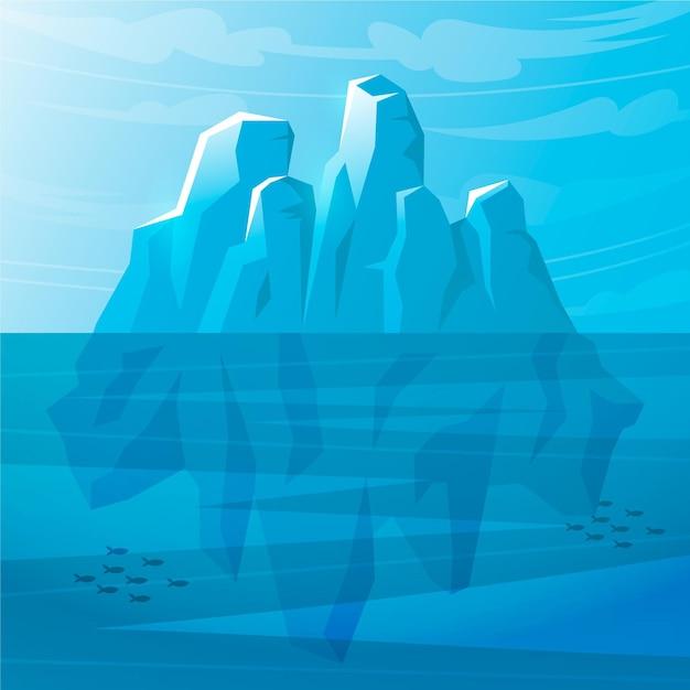 Айсберг иллюстрированный Бесплатные векторы