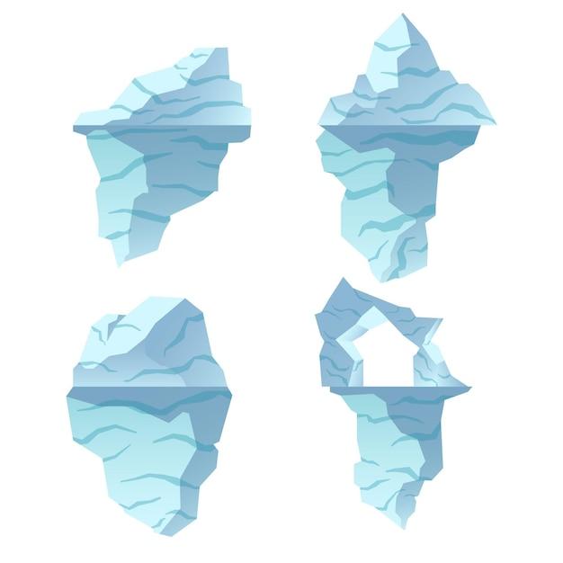 Collezione di illustrazioni di iceberg Vettore gratuito