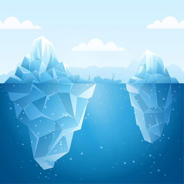 Concetto di illustrazione di iceberg Vettore gratuito