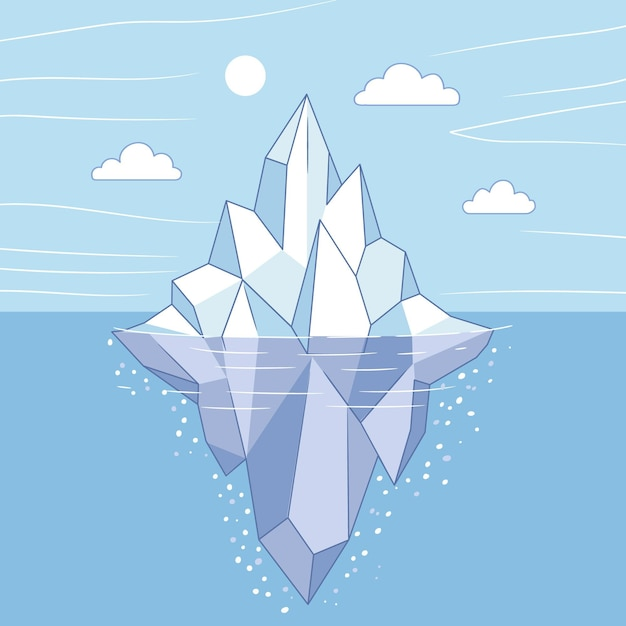 Iceberg illustration concept Free Vector