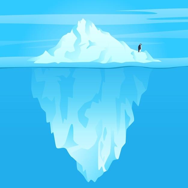 Iceberg illustration in the ocean Free Vector