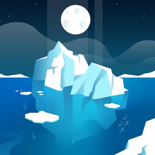 Illustrazione dell'iceberg con la luna Vettore gratuito
