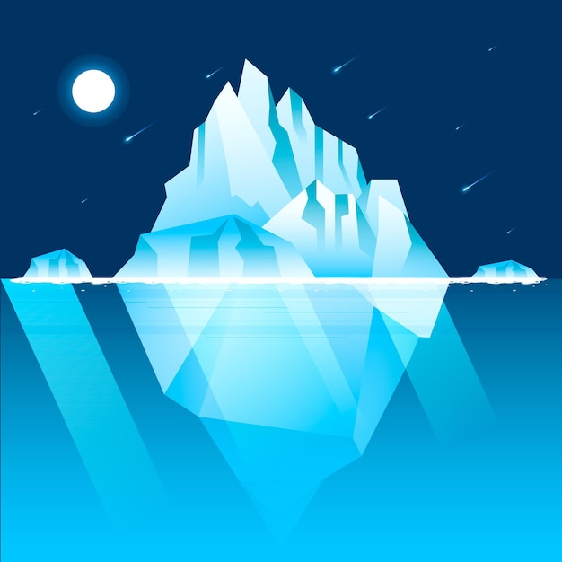 Iceberg illustration with night sky and shooting stars Free Vector