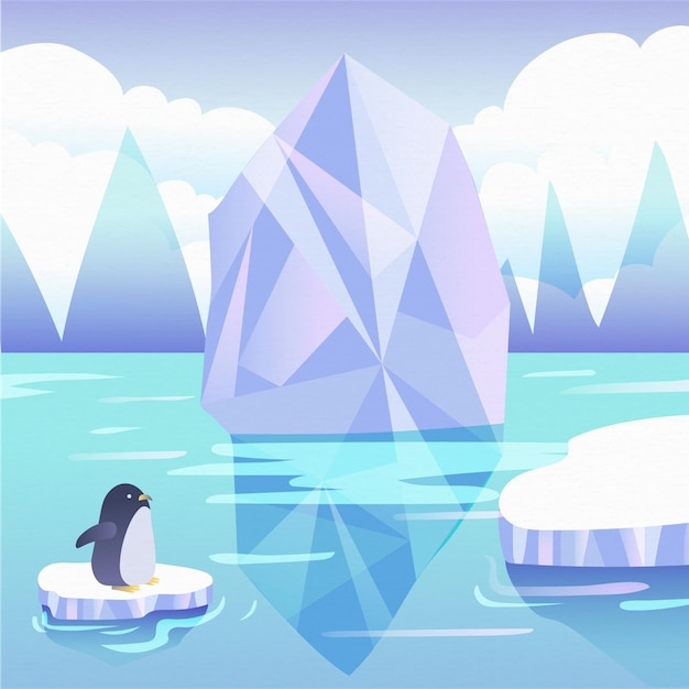 Iceberg illustration with penguin Free Vector