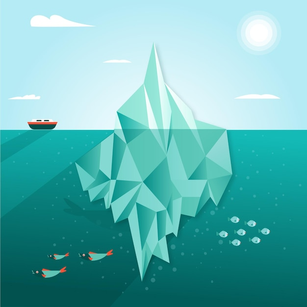 Illustrazione di iceberg con nave e pesce Vettore gratuito