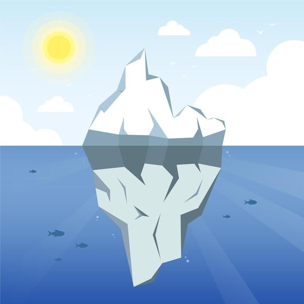 太陽と雲と氷山のイラスト 無料ベクター