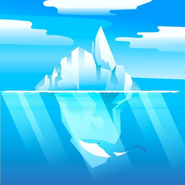 クジラと氷山イラスト 無料ベクター