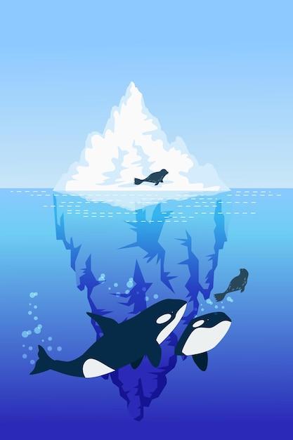 クジラとシールの氷山イラスト 無料ベクター
