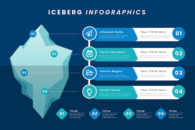 Iceberg infographic with information Free Vector