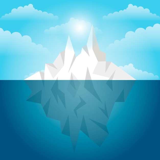 Luce diurna del paesaggio dell'iceberg Vettore gratuito