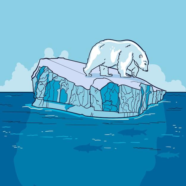 Iceberg paesaggio disegnato a mano design Vettore gratuito