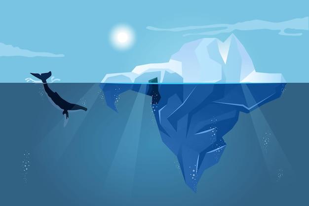 Пейзаж айсберга с китом Premium векторы