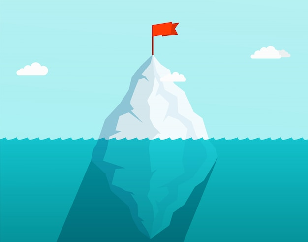 Iceberg in ocean floating in sea waves with red flag on top. business concept. Premium Vector
