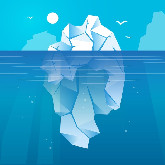 Iceberg in the ocean illustrated Free Vector