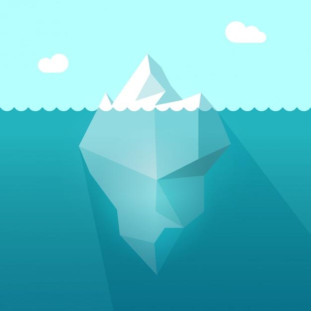 Iceberg in ocean water with underwater part flat cartoon Premium Vector