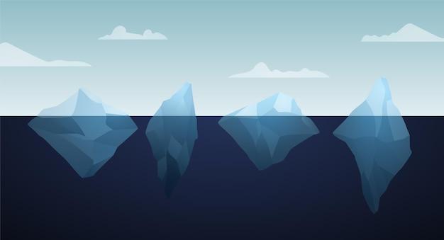 Иллюстрация пакета айсберг Бесплатные векторы