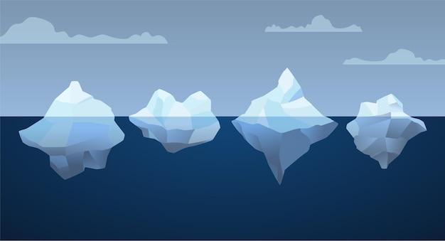 Тема пакета айсберг Бесплатные векторы