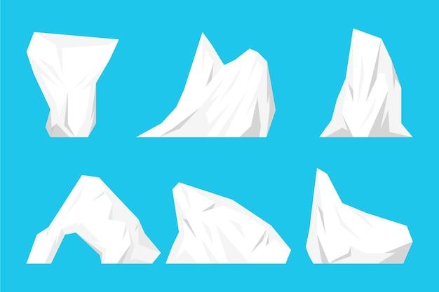 Набор айсберг Бесплатные векторы