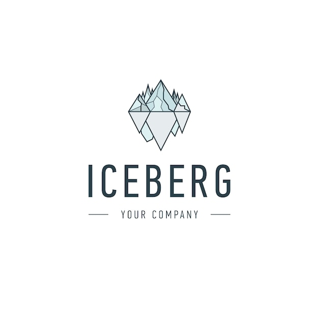 Iceberg triangle of cold mountain abstract vector and logo design or