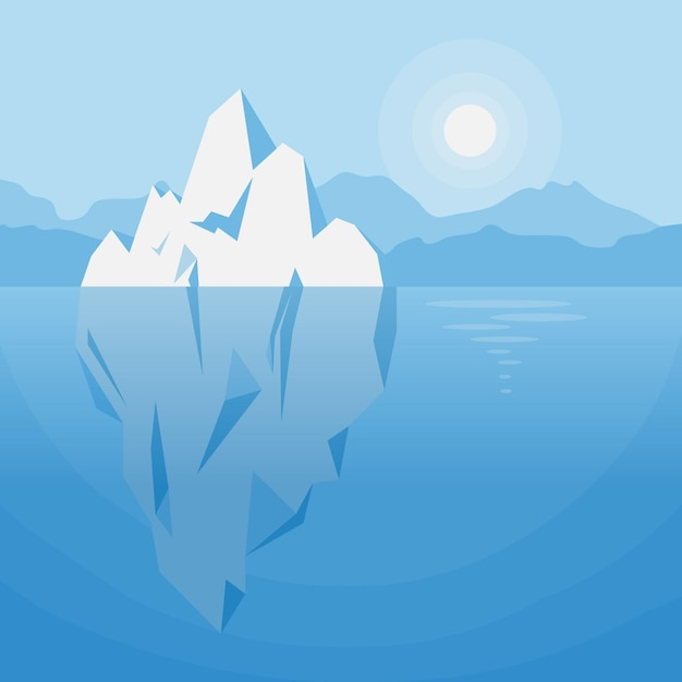Iceberg under water illustration Free Vector