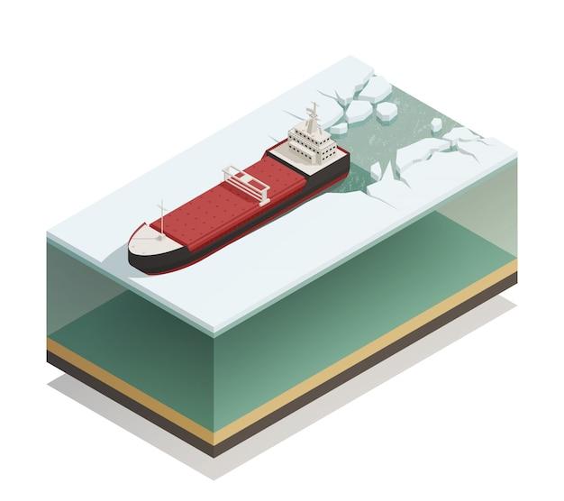 砕氷船の水上等尺性モデル 無料ベクター