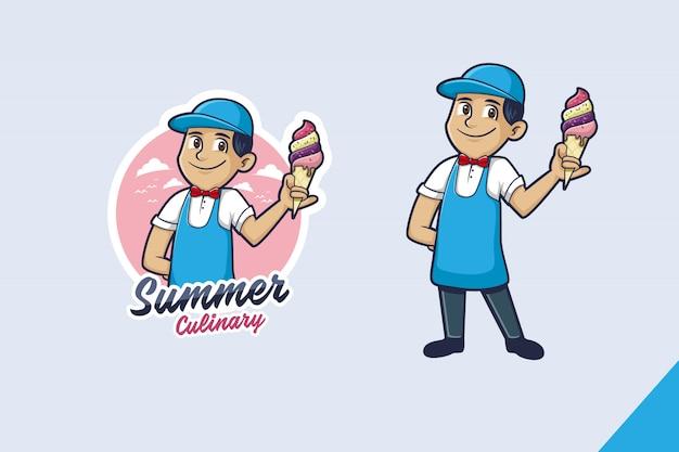 Icecream mascot logo Premium Vector
