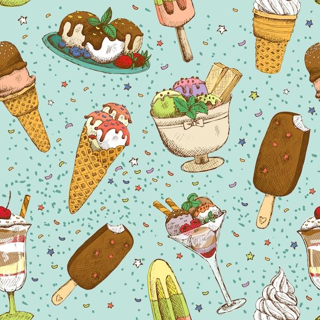 Icecream seamless background pattern Free Vector