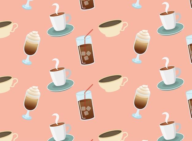 アイスコーヒーグラスとカップのシームレスなパターン Premiumベクター
