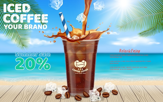 Iced coffee pouring into takeaway cup Premium Vector