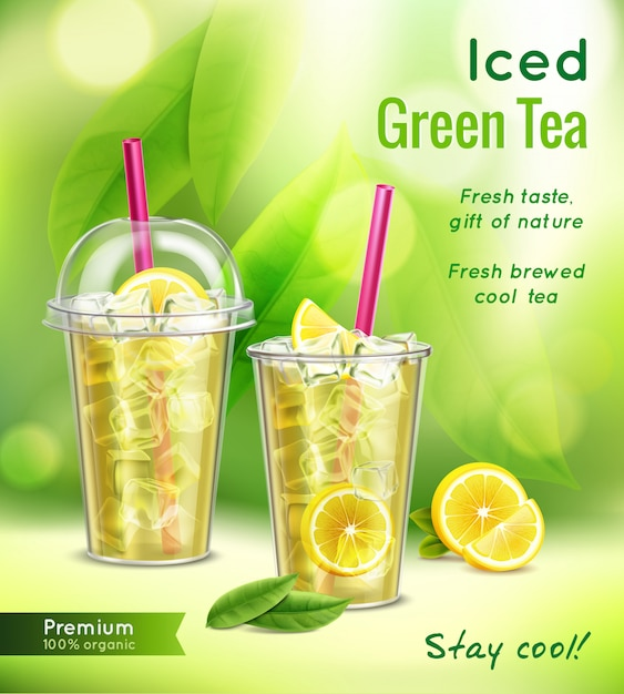 Iced green tea realistic advertising composition with full glasses mint leaves lemon  vector illustration Free Vector