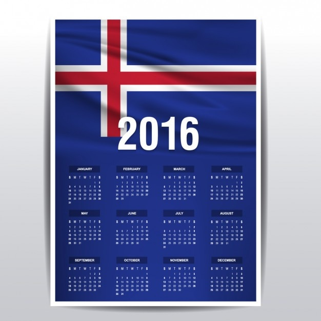 Iceland calendar of 2016 Free Vector