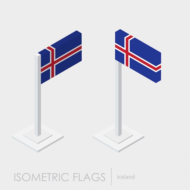 Iceland flag 3d isometric style Free Vector