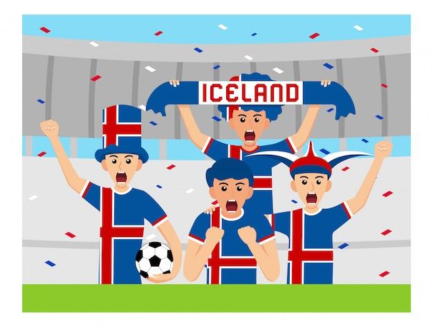 フラットデザインのアイスランドサポーター Premiumベクター