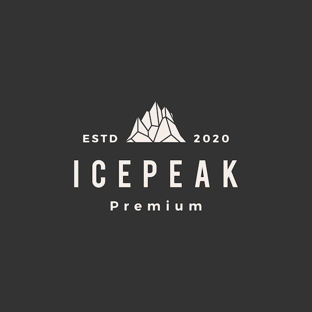 Icepeakマウントヴィンテージロゴアイコンイラスト Premiumベクター