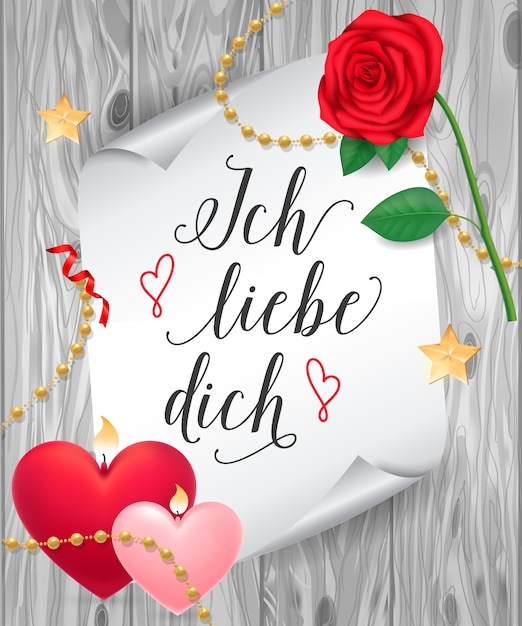 ich liebe dich lettering on paper scroll vector  premium