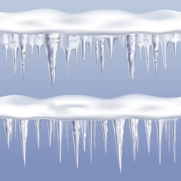 Icicles tileable borders set Free Vector