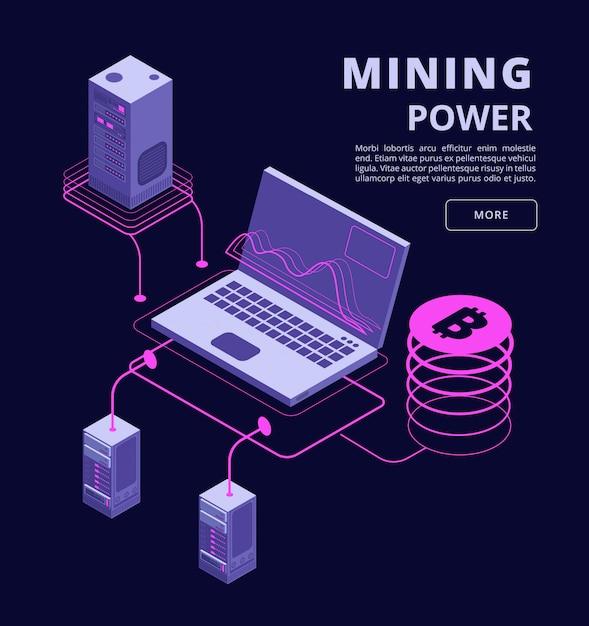 暗号通貨、ブロックチェーン、トークン取引、ビットコインファーム、icoベクトル3 d等尺性インフォグラフィック Premiumベクター