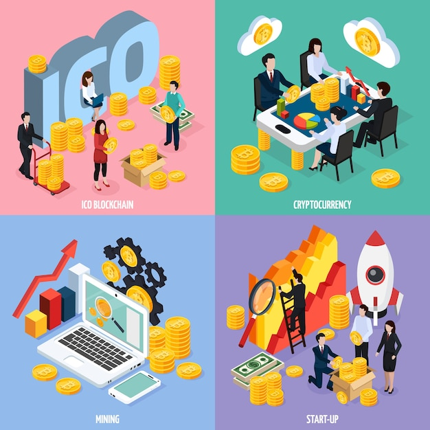 Ico blockchain isometric design concept with teamwork, cryptocurrency mining, marketing research and startup isolated Free Vector