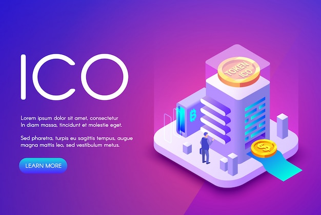 Ico cryptocurrency illustration of bitcoin and tokens for crowdfunding investment Free Vector