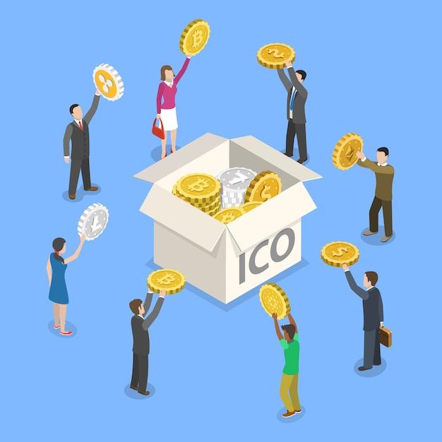 Ico плоский изометрические вектор концепции. Premium векторы